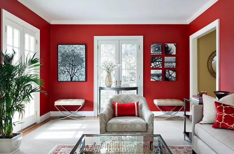 Sufrageria cu pereti rosii
